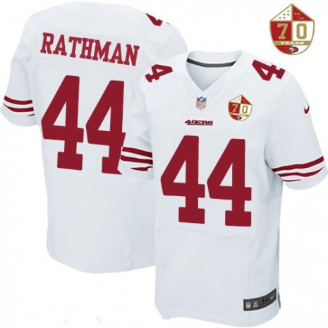 Men's San Francisco 49ers #21 Deion Sanders White 70th Anniversary Patch Stitched NFL Nike Elite Jersey