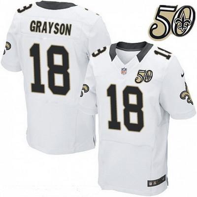the best attitude 6d76a e6e94 Men's New Orleans Saints #18 Garrett Grayson White 50th ...