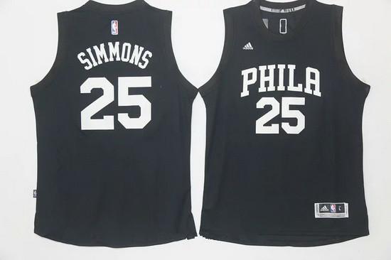 classic fit 79619 98cc3 Men's Philadelphia 76ers #25 Ben Simmons Black With White ...