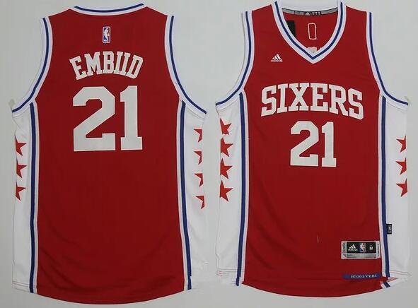 buy online 52c3d b29d9 Men's Philadelphia 76ers #21 Joel Embiid NEW Red Stitched ...