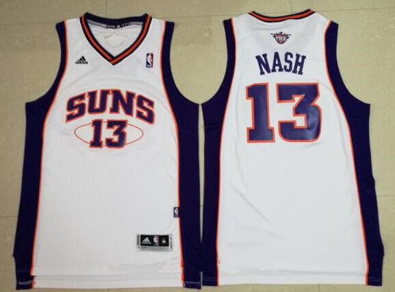Men's Phoenix Suns #13 Steve Nash White Stitched NBA Adidas Revolution 30 Swingman Jersey