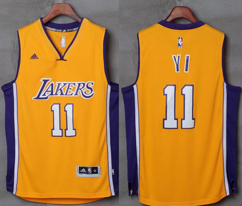 competitive price ba1ef 7162e Men's Los Angeles Lakers #9 Nick Van Exel Yellow Hardwood ...