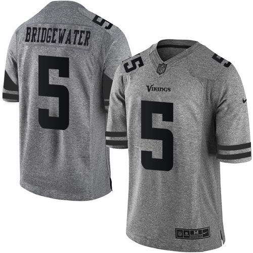 Nike Vikings #5 Teddy Bridgewater Gray Men's Stitched NFL Limited ...