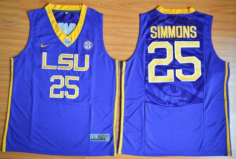 f86a3bf82 Men s LSU Tigers  25 Ben Simmons Purple College Basketball Jersey on ...