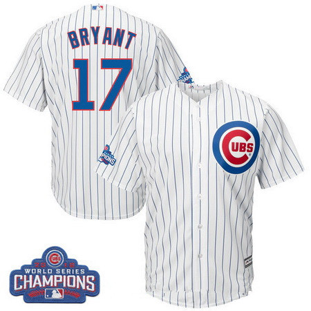 Men's Chicago Cubs #17 Kris Bryant Majestic White Home 2016 World Series Champions Team Logo Patch Player Jersey