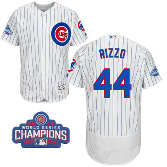 Men's Chicago Cubs #44 Anthony Rizzo White Home Majestic Flex Base 2016 World Series Champions Patch Jersey