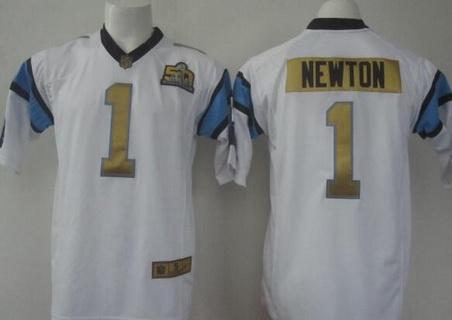 Men's Carolina Panthers #1 Cam Newton White Super Bowl 50th  free shipping