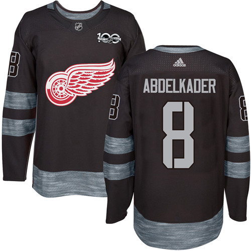 Red Wings #8 Justin Abdelkader Black 1917-2017 100th Anniversary Stitched NHL Jersey