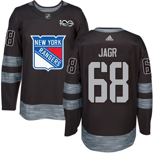 Men's York Rangers #68 Jaromir Jagr Black 1917-2017 100th Anniversary Stitched NHL Jersey