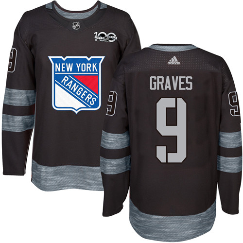 8e278365ab2 Men's York Rangers #9 Adam Graves Black 1917-2017 100th Anniversary Stitched  NHL Jersey