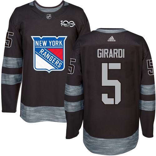 Men's York Rangers #5 Dan Girardi Black 1917-2017 100th Anniversary Stitched NHL Jersey