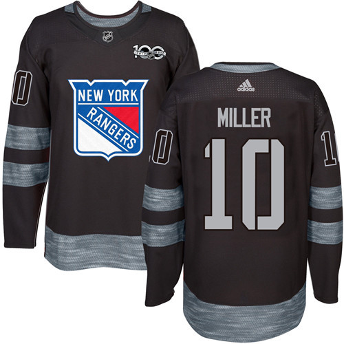 Men's York Rangers #10 J.T. Miller Black 1917-2017 100th Anniversary Stitched NHL Jersey