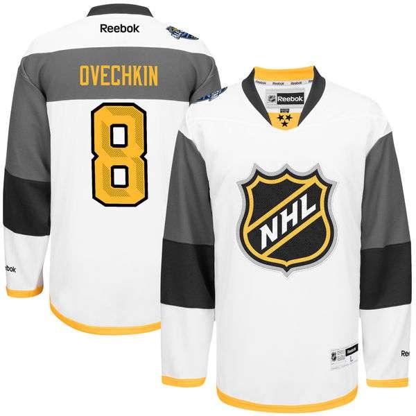 Men's NHL Reebok #8 Alexander Ovechkin White 2016 All-Star Premier Jersey