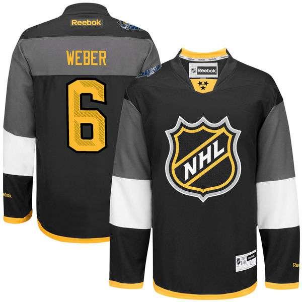 Men's NHL #6 Shea Weber Black Reebok 2016 All-Star Premier Jersey