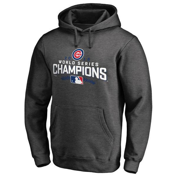 Chicago Cubs Charcoal 2016 World Series Champions Locker Room Streak Fleece Men's Pullover Hoodie