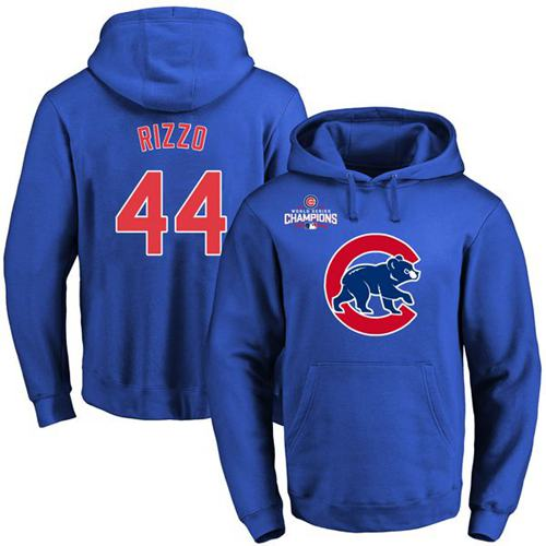 Cubs #44 Anthony Rizzo Blue 2016 World Series Champions Primary Logo Pullover MLB Hoodie
