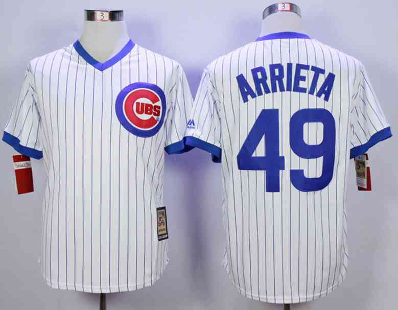 06e1772ee Men's Chicago Cubs #49 Jake Arrieta White Throwback Jersey on sale ...