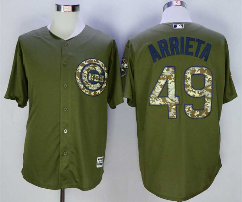 b96f8848b Men's Chicago Cubs #49 Jake Arrieta Olive Green New Cool Base Jersey ...