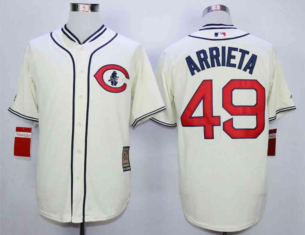 4422e3384 Men's Chicago Cubs #49 Jake Arrieta Cream 1929 Turn Back The Clock Jersey