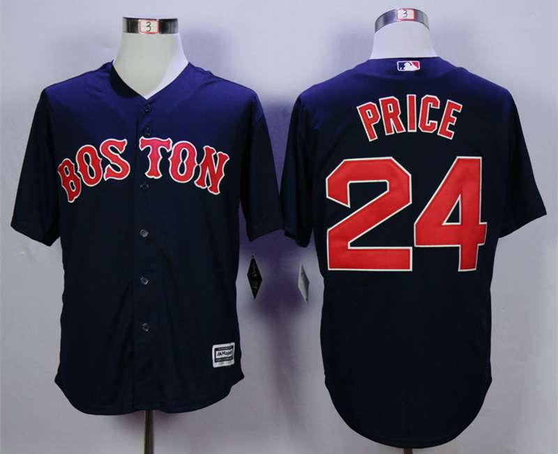 51b3b969a41 Men s Boston Red Sox  24 David Price Blue New Cool Base Jersey on ...