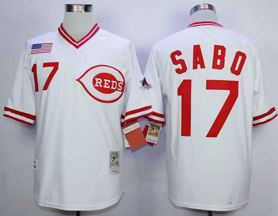 baa46e742 Men s Cincinnati Reds  17 Chris Sabo White 1990 Throwback Jersey on ...