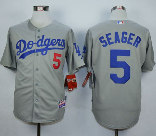 designer fashion 7b413 9db18 Men's Los Angeles Dodgers #5 Corey Seager Grey Cool Base ...