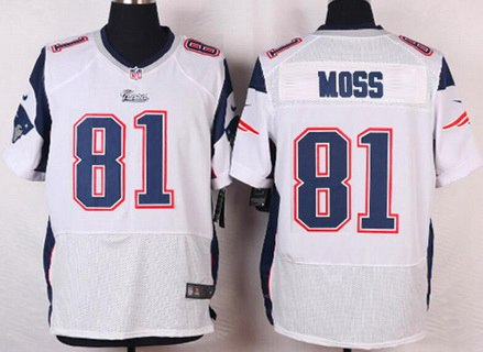 90bcc3577 Men s New England Patriots  81 Randy Moss White Retired Player NFL Nike  Elite Jersey
