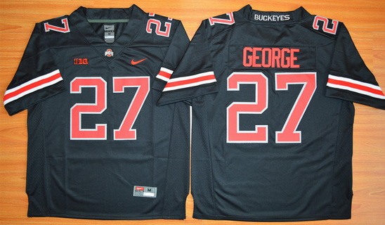 15f4a3efc01 Men's Ohio State Buckeyes #27 Eddie George Black With Red 2015 College  Football Nike Limited Jersey