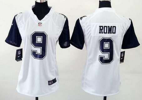 promo code 8237f 13c35 Women's Dallas Cowboys #9 Tony Romo Nike White Color Rush ...