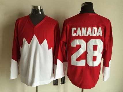 Men's Team Canada #28 Canada 1972 CCM Throwback Hockey Red Jersey