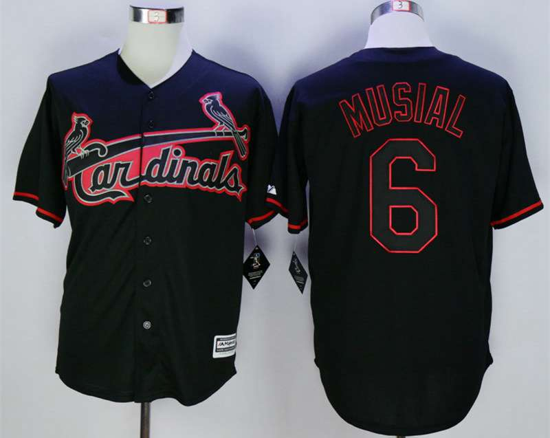 the latest 2ec9c 06a1b Men's St. Louis Cardinals #6 Stan Musial Black New Cool Base ...
