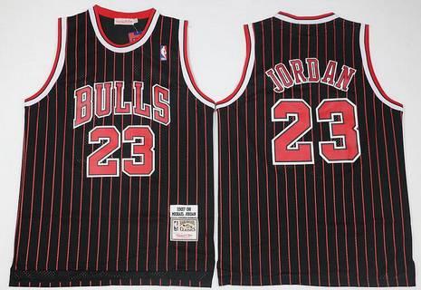 new style fd819 d7d84 Chicago Bulls #23 Michael Jordan 1997-98 Black Pinstripe ...