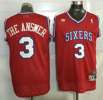 Philadelphia 76ers #3 The Answer Nickname Red Soul Swingman Jersey