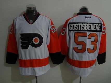 Men s Philadelphia Flyers  53 Shayne Gostisbehere Philadelphia Flyers  Reebok Premier White Away Jersey 5bfa9873d