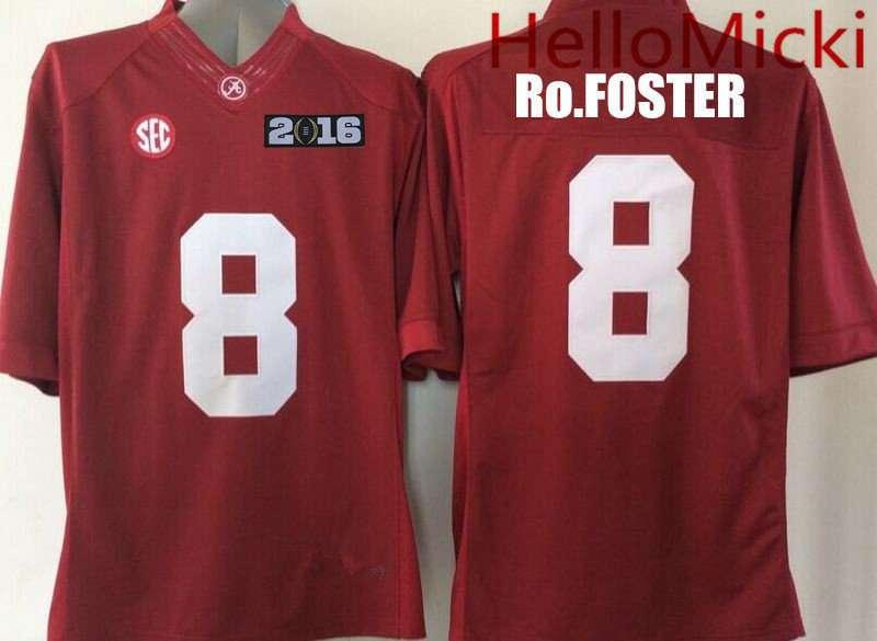 b9cecd1f146 Men s Alabama Crimson Tide  8 Robert Foster Red 2016 BCS patch College  Football Nike Limited