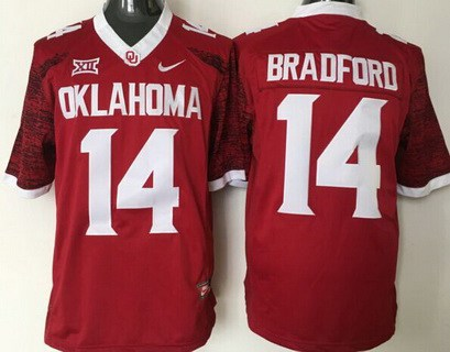 Men's Oklahoma Sooners #14 Sam Bradford Red College Football Nike Jersey
