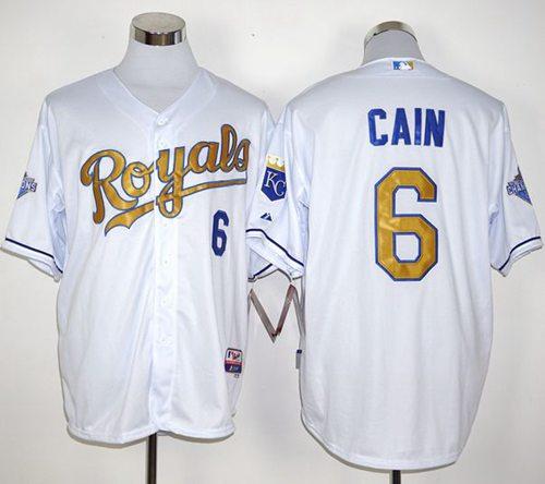 online store da70c 5999b Royals #6 Lorenzo Cain White 2015 World Series Champions ...