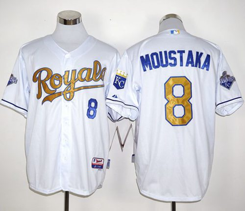 bfa96e3a2 Royals  8 Mike Moustakas White 2015 World Series Champions Gold Program  Stitched MLB Jersey