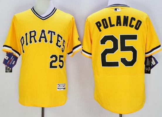 Men's Pittsburgh Pirates #25 Gregory Polanco Yellow Flexbase 2016 MLB Player Jersey