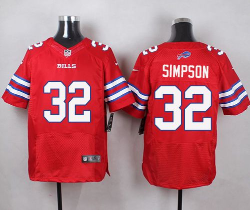 a9df2154c42 Nike Bills #32 O. J. Simpson Red Men's Stitched NFL Elite Rush Jersey