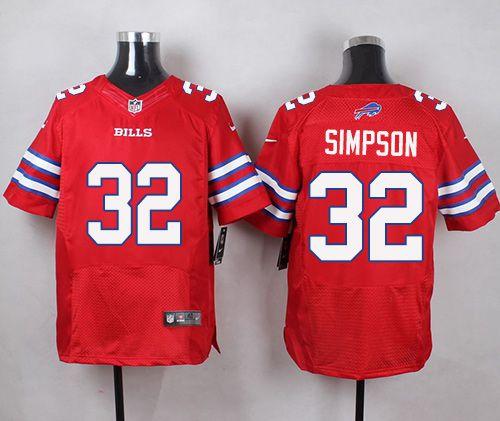 Nike Bills  32 O. J. Simpson Red Men s Stitched NFL Elite Rush Jersey 55e0e50f6