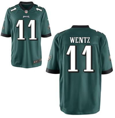 Youth Philadelphia Eagles #11 Carson Wentz Nike Green 2016 Draft Pick Game Jersey
