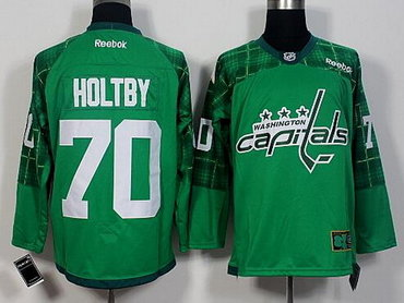 97b976b30 Men's Washington Capitals #70 Braden Holtby Green 2016 St. Patrick's Day  Hockey Jersey
