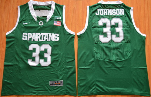 efbc965e Men's Michigan State Spartans #33 Magic Johnson Green College Basketball  Nike Jersey