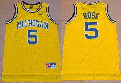 d4b4867f39e Men's Michigan Wolverines #5 Jalen Rose Yellow College Basketball Nike  Swingman Jersey