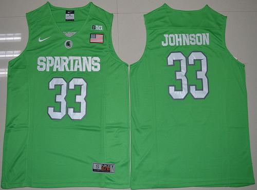 on sale b58e3 4a531 Men's Michigan State Spartans #45 Denzel Valentine Green ...