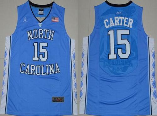 Men's North Carolina Tar Heels #15 Vince Carter 2016 White Swingman College Basketball Jersey