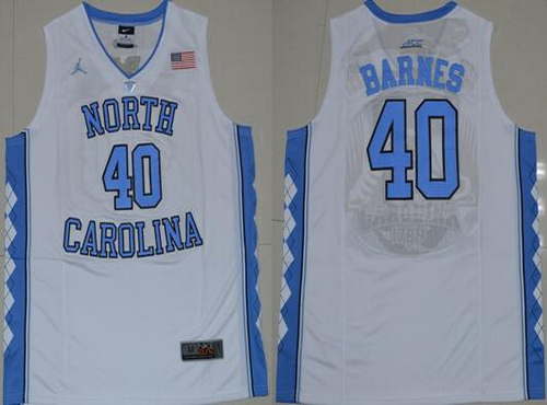 Men's North Carolina Tar Heels #40 Harrison Barnes 2016 White Swingman College Basketball Jersey