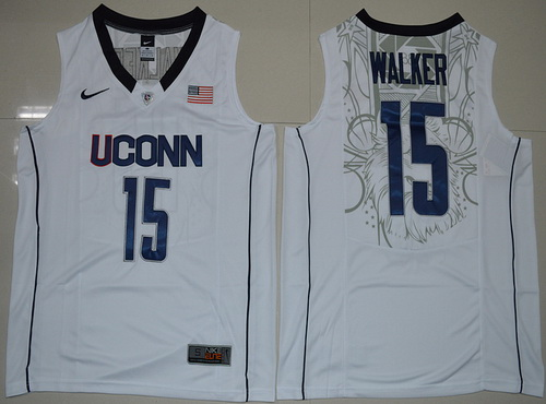 003af09c29ba Men s Uconn Huskies  15 Kemba Walker White Nike College Basketball Swingman  Jersey