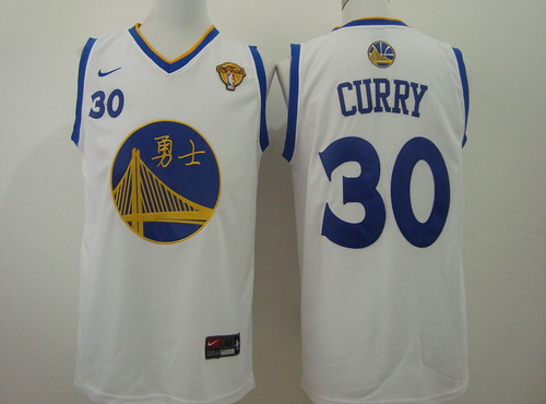 Men's Golden State Warriors #30 Stephen Curry Chinese White Nike Authentic  Jersey
